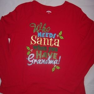 Holiday Time XL Red Graphic Long Sleeve Tee-Shirt